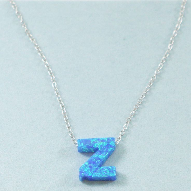 925 Sterling Silver Opal Z-Initial Pendant Necklace
