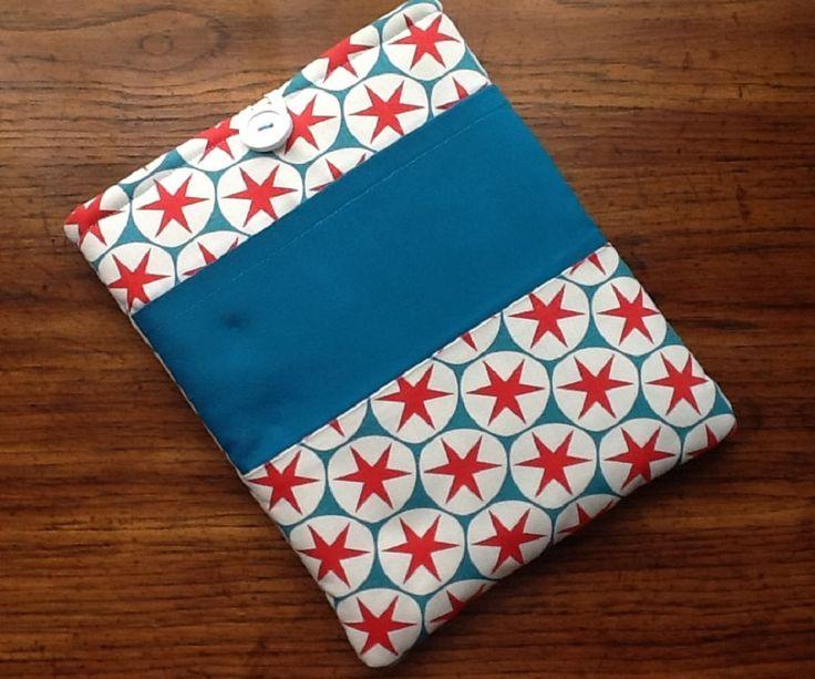 "IPad, IPad Pro Cover Sleeve, Samsung Galaxy Tab2 Cover Sleeve, Nook Sleeve Cover, Bright Turquoise Red Print Stars, 10"" x 7 3/4"" by LindaLeasBoutique on Etsy"