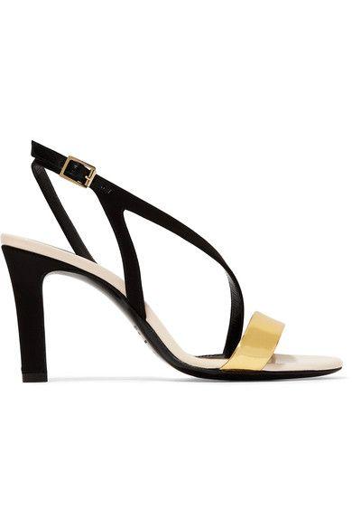 Lanvin - Metallic Leather And Satin Sandals - Black - IT