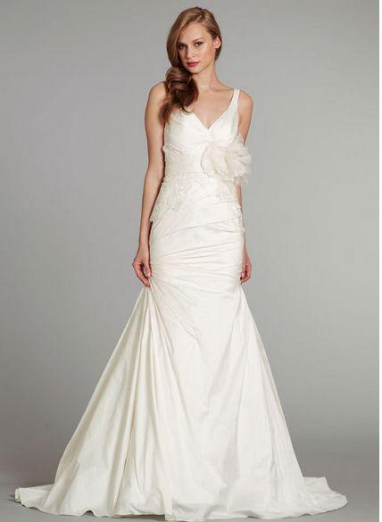 2015 nya eleganta Mermaid bröllopsklänningar V Neck Sleeveless Backless Court Flowers Lace Bridal