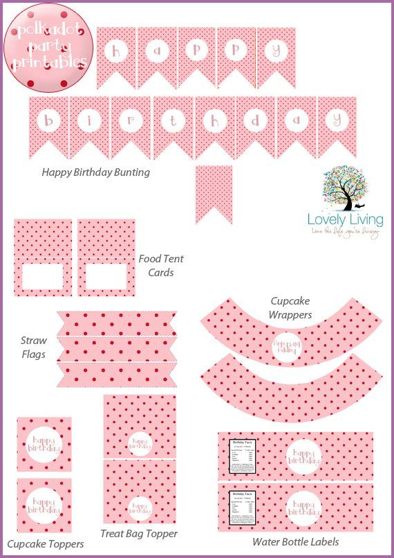 Pink and Red Polkadot Party Printable Collection - Lovely Living - Love The Life You're Living