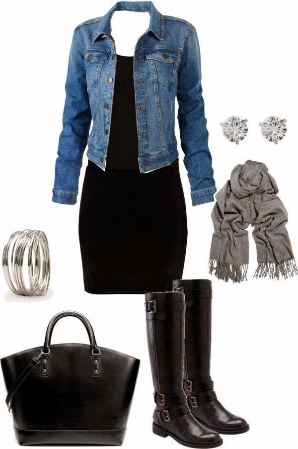 Adorable fall fashion combination with denim jacket. I need a demin jacket