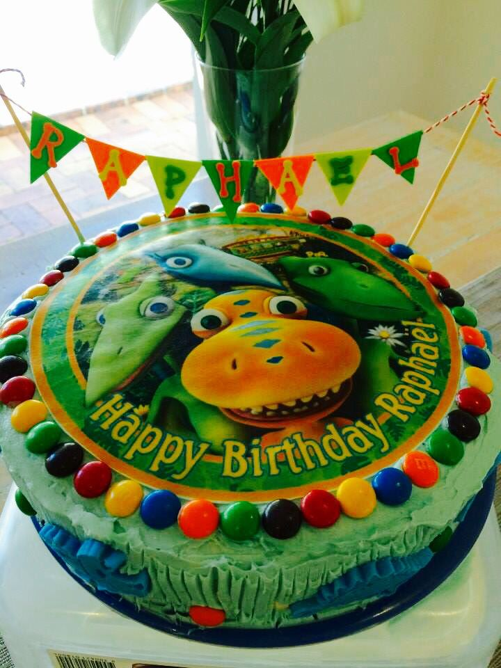 Dinosaur Train Birthday Cake. We personalised the design and ordered the edible wafer as the cake topper from the baking shop