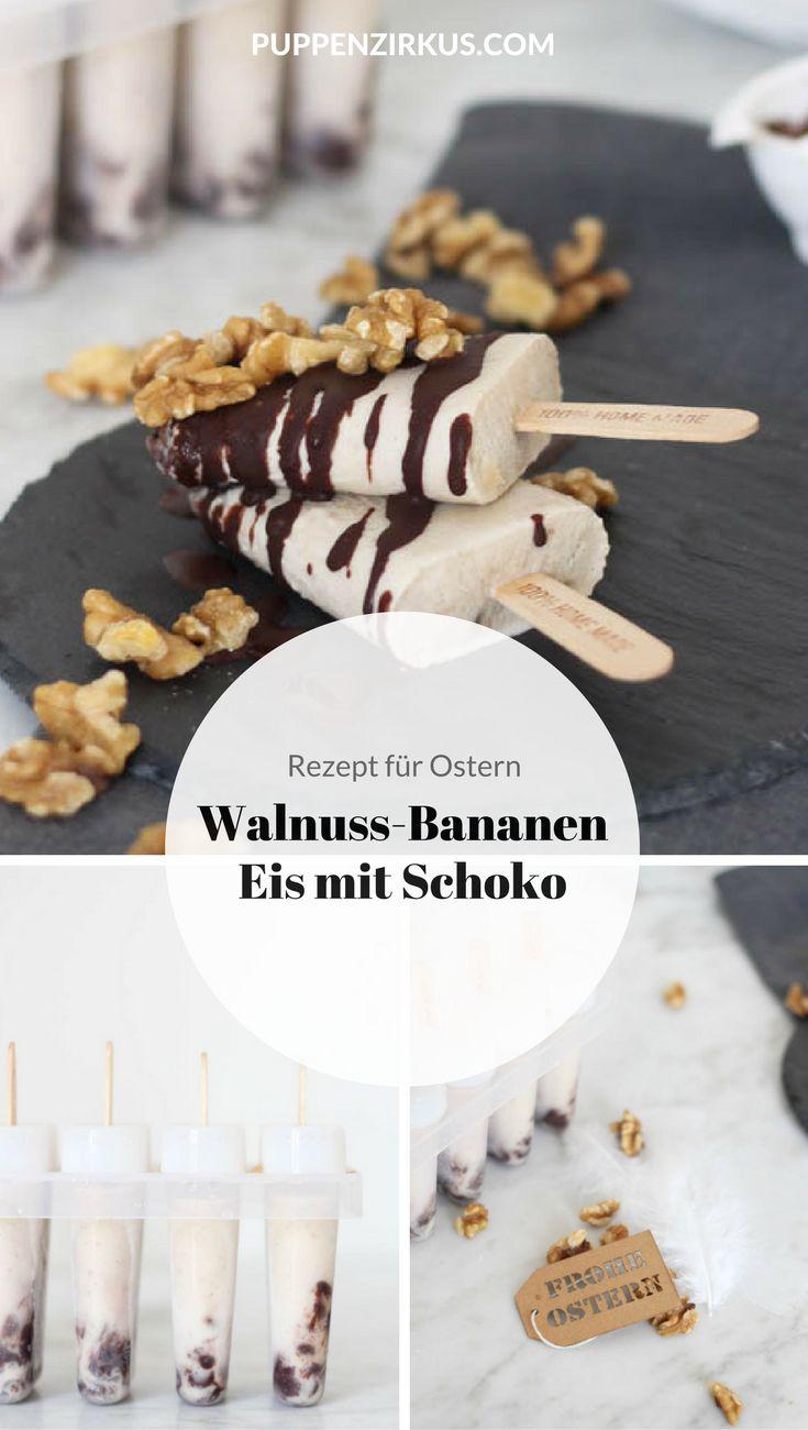 Walnuss-Bananen Eis am Stiel mit Schokosoße   Dessert für Ostern und die ersten Frühlingstage   Das Rezept sowie das gesamte Ostermenü inklusive der Tischdekoration findet ihr auf Puppenzirkus!