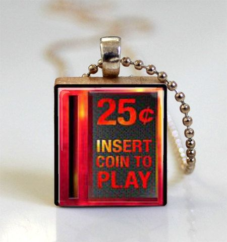 Video Game Jewelry Insert Coin to Play Scrabble Tile Pendant with Ball Chain Necklace Included (ITEM S117) on Etsy, $7.95