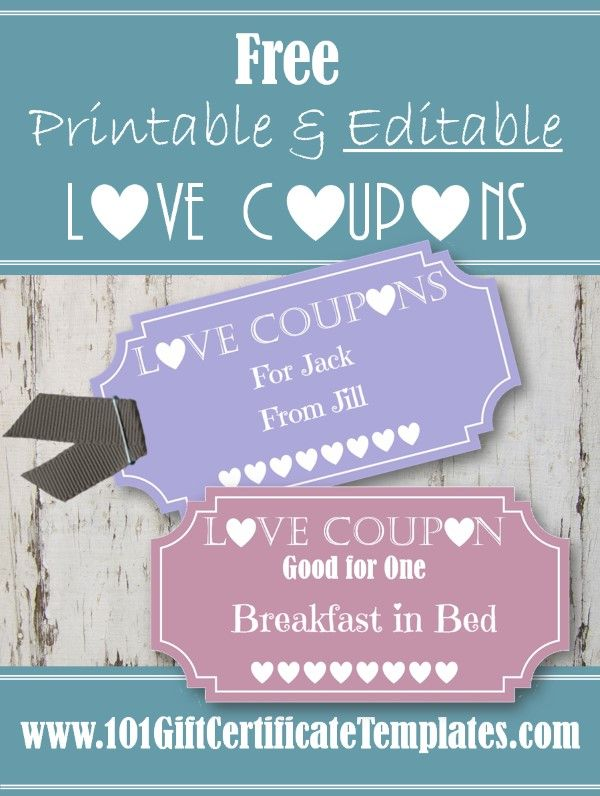 Free printable and editable love coupons Instant download Winter