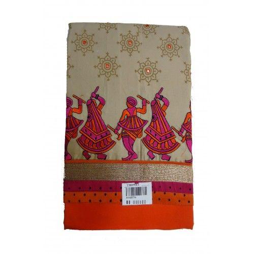 Unstitched Churidar Orange With Chiku color printed design cotton Salwar Kameez churidar material