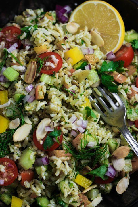 This Simple Brown Rice Salad with Pesto Vinaigrette is created from salad drawer…
