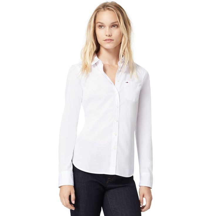 TOMMY HILFIGER STRETCH COTTON SHIRT - CLASSIC WHITE. #tommyhilfiger #cloth #