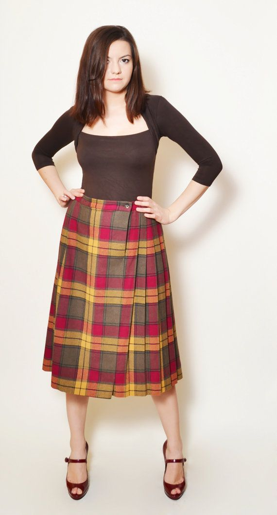 Wool Midi Skirt Plaid High Waisted Long Plated by SixVintageChicks