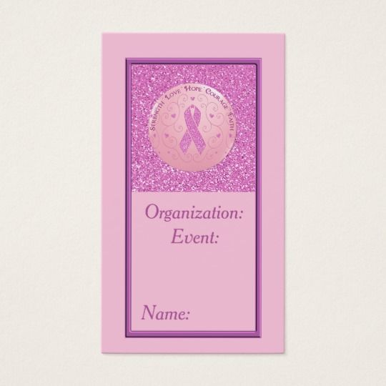 Breast Cancer Pink Ribbon Glitter Business Card 4