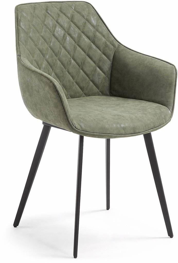 Deze eetkamerstoel is van het merk LaForma. De stoel heeft een zwarte metalen onderstoel en een de kuip is bekleed met PU leer en heeft door de armleuning ee...