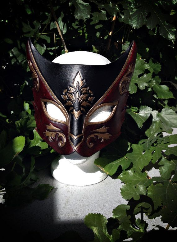 Venitian Cat leather mask masquerade masquarade by FeralCrafter