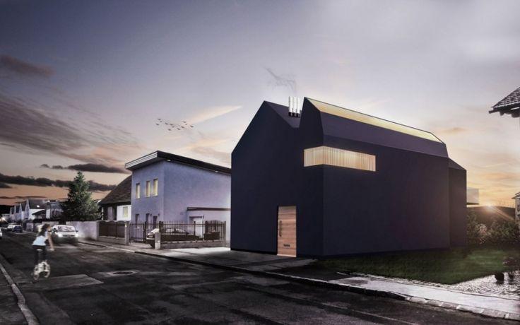 Modern house, black.