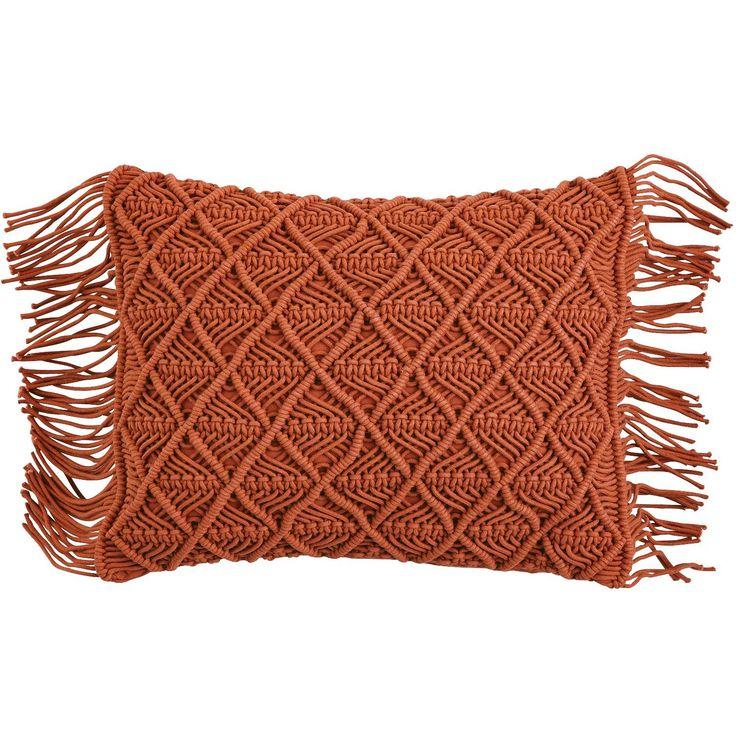 Decorative Pillows With Fringe Part - 37: Malton Macrome U0026 Fringe Pillow - Clay | Pier 1 Imports
