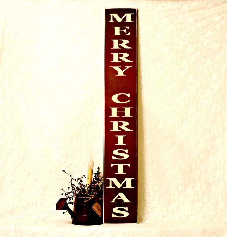 Merry Christmas - Primitive Country Painted Wall Sign, Vertical Sign, Chrismtas Decor, Farmhouse Decor, Christmas Sign, Ready to Ship by thecountrysignshop on Etsy