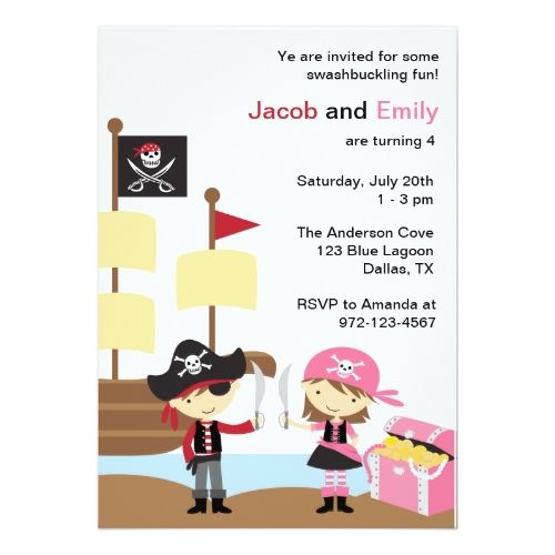 120 best twins birthday party invitations images on pinterest twins birthday party invitations boy and girl pirate invitations stopboris Gallery