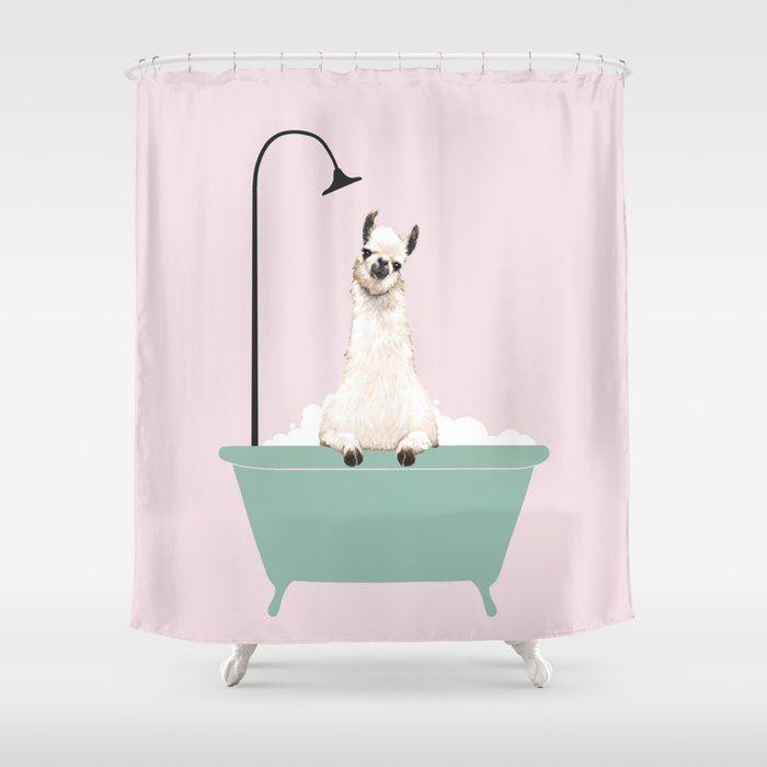Llama Enjoying Bubble Bath In Green Tub Quirky Shower Curtain