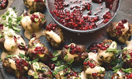 Yotam Ottolenghi's lamb koftas with pomegranate jam and tahini: 'I'm a recent convert to pomegranate jam.' Photograph: Colin Campbell for the Guardian. Food styling: Claire Ptak