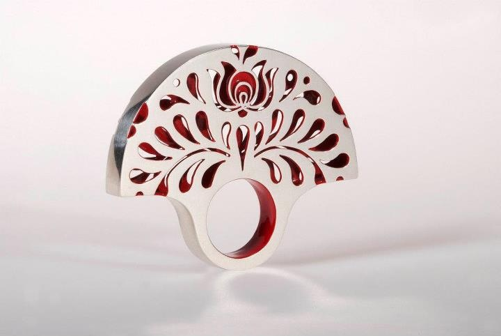 "Ring | Klára Abaffy. Sterling and resin. From her ""Matyó"" collection that incorporate the traditional Hungarian Matyó embroidery style with modern appearance"