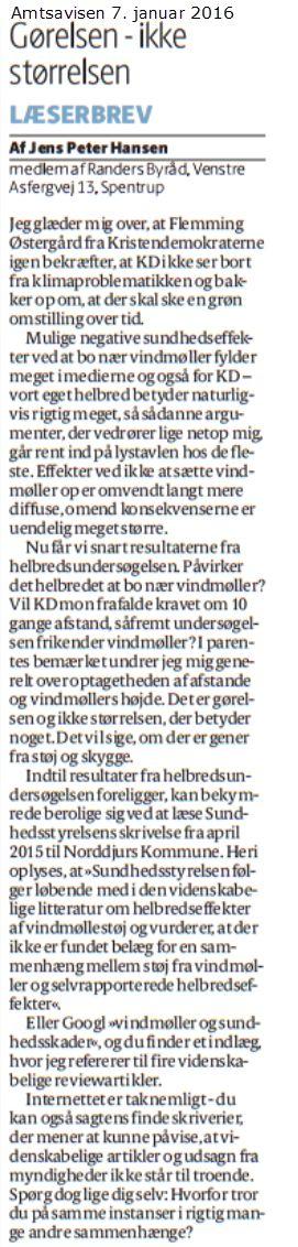 Det er da nobelt, at KD i den grad bekymrer sig om borgernes helbred - men at fokusere på naboskab til vindmøller er ikke det rette sted at bruge kræfterne. Og at en læge sender materiale til Folketingets Sundhedsudvalg fylder for mig meget lidt ift. den videnskab, der refereres til på http://www.venstreiranders.dk/debat/vindmoeller-og-sundhedsskader/