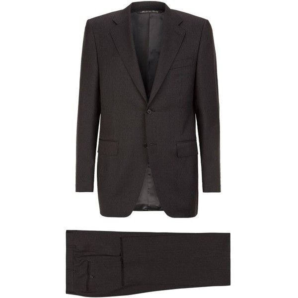Canali Plain Twill Suit (£999) ❤ liked on Polyvore featuring men's fashion, men's clothing, men's suits, canali men's suits, mens grey suits and mens gray suit