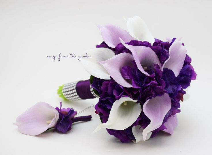 Bridesmaid Bouquet Groomsmen Boutonniere - Calla Lily Hydrangea Lavender White Purple Real Touch Calla Lily Hydrangea Wedding Flower Bouquet by SongsFromTheGarden on Etsy https://www.etsy.com/listing/161247895/bridesmaid-bouquet-groomsmen-boutonniere