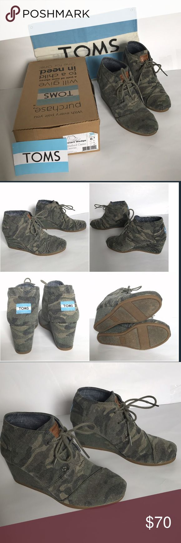 NIB desert wedge camo toms Size 6.5 I have worn these once but as you can tell from photos there's no sign of wear. Shoes come with sticker, dust bag, and box! ♥️. **not brand new, have been worn once before** TOMS Shoes Ankle Boots & Booties