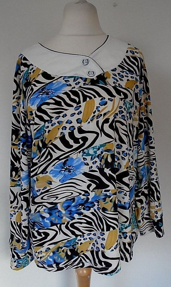a692d6dc6b98 Fan June Gypsy Top Plus Size XL UK 18/20 Cream Floral/Animal Print Tunic  #fashion #clothing #shoes #accessories #womensclothing #tops (ebay link)