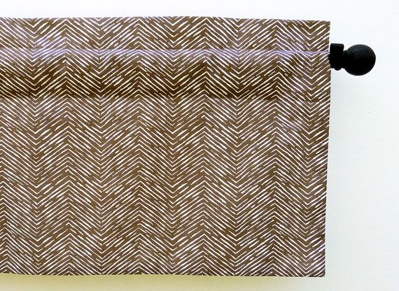 Window Valance for Office, Study, or Man Cave Brown Neutral Cameron Style (curtain rod not included)