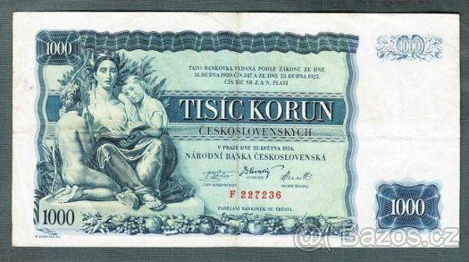 Staré bankovky - První republika 1000 korun 1934 - 1