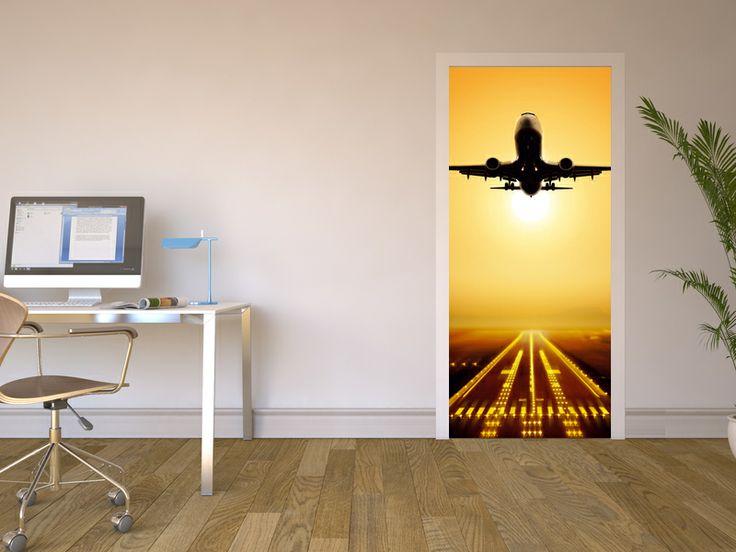 """Weckt das Fernweh: Türfolie """"Starting Plane""""  #Klebefolie #Türfolie #selbstklebend #Designfolie #Moebelfolie"""