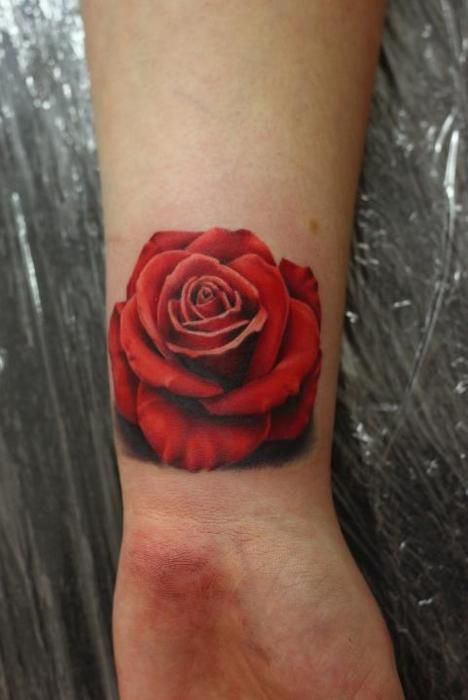 3d rose tattoo wrist...like a rose that grew from concrete :)