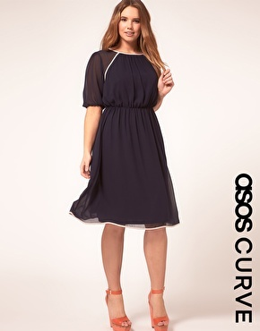 Midi Dress With Contrast Piping