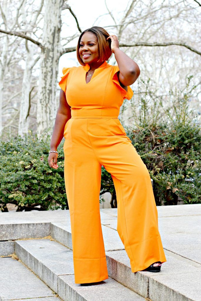 27befb75e3d25 Lifestyle Blogger Sandee Joseph wears New York and Company Gabrielle Union  Line Jumpsuit