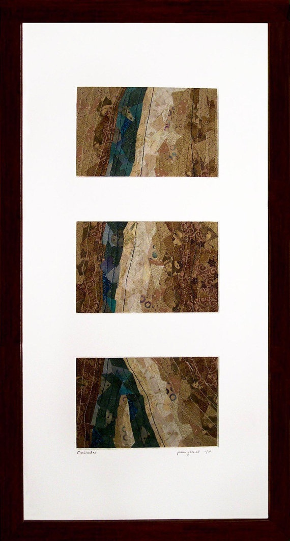 Cascades Fabric Mosaic by ForQuiltsSake on Etsy, $150.00Quality Quilt, Brown Fabrics, Fabrics Mosaics, Quilt Sake, Handmade Fabrics, 150 00 Quiltsy, Cascading Fabrics