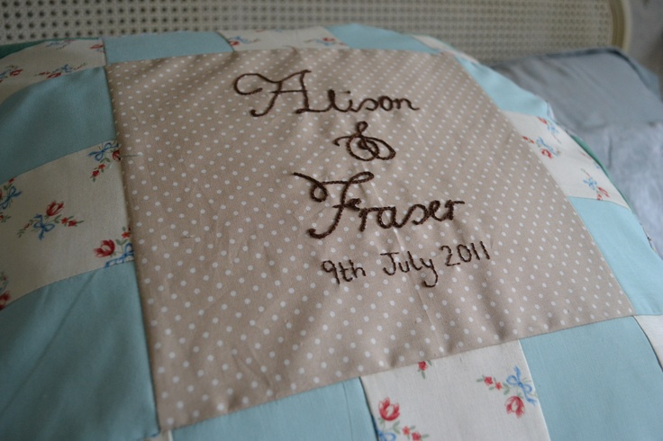 Another wedding cushion with a bit of patchwork!