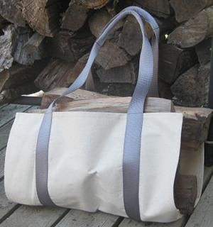 A simple to sew log carrier all set to carry filled with firewood - Debbie Colgrove, Licensed to About.com