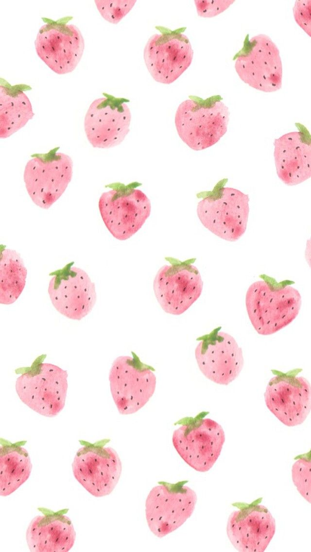 Strawberries pattern. Tap to see more iPhone Wallpapers for Summer To Brighten Up Your Phone! Watercolor art pattern background. - @mobile9