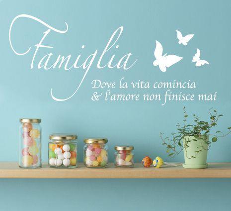 FAMIGLIA DOVE LA VITA adesivo murale 39€