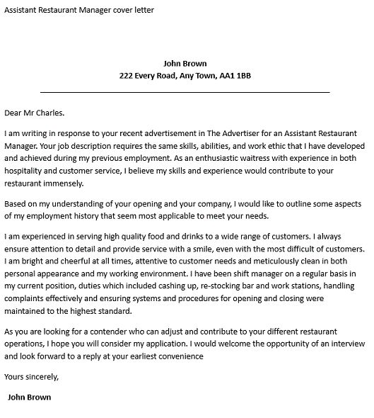 cover letter for catering job