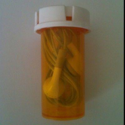 Repurpose Medicine Bottles - Earphone Container