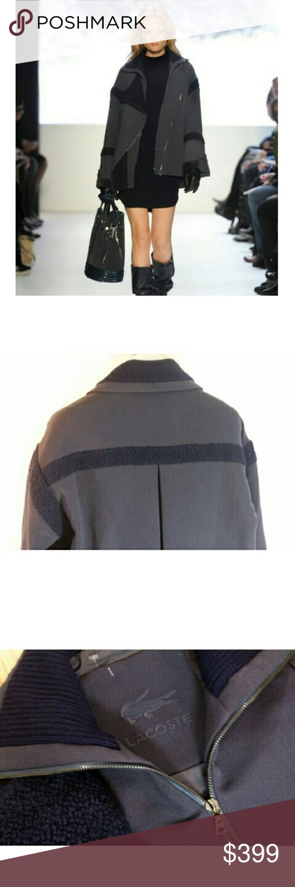 """LACOSTE Bomber Jacket - Size 8 / 40 UK Featured in their runway show. Has details similar to those found in designs by Alexander Wang,  rag & bone or ACNE. With a New York hipster feel to it, this bomber-style oversized wool blend jacket features a double zip front. Fleece wool accents around arms, cuffs, & shoulders. This is a nice, weighty warm coat. ** Similar to the Acne Velocite jacket.   Bust: 20""""  Arms: 22"""" Shoulders: 21"""" Length: 27""""  I work in L.A as a wardrobe stylist for film…"""
