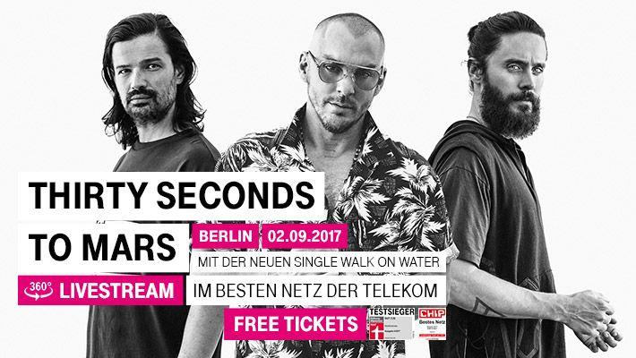 Am 2. September 2017 kommt Frontmann Jared Leto mit seiner Band 'Thirty Seconds to Mars'und ihrer neuen Single 'Walk On Water' in den Berliner Postbahnhof. Mit einem 360-Grad-HD-Livestream von Telekom Street Gigs – MagentaMusik 360 bist Du mittendrin und live dabei. Wir liefern fantastische Bilder mit unserem Kamerakran GFM GF-9.