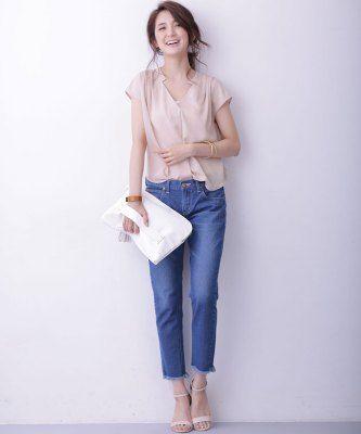 夏に着たい、抜け感あるデザインのブラウス♪40代アラフォー女性のスキッパーシャツのコーデ♪