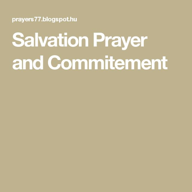Salvation Prayer and Commitement