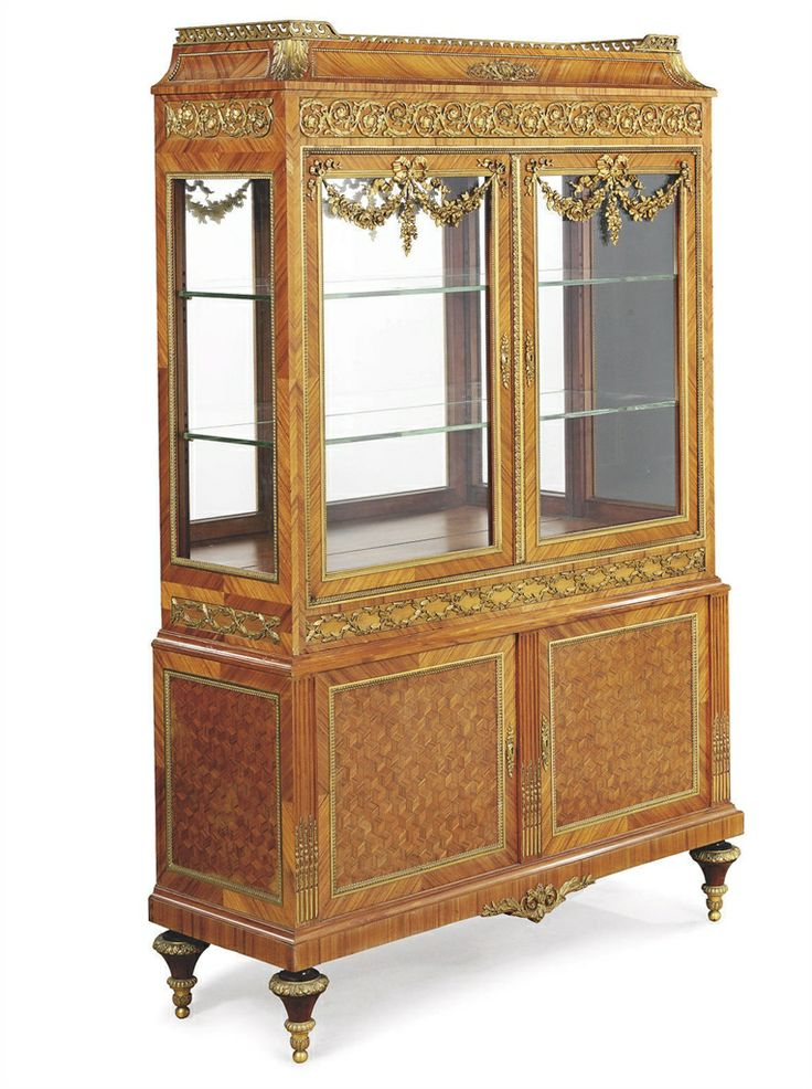 A FRENCH ORMOLU MOUNTED BOIS CITRONNIER AND PARQUETRY VITRINE CABINET   BY  VICTOR RAULIN