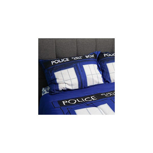 Doctor Who TARDIS Bedding ($30) ❤ liked on Polyvore featuring home, bed & bath, bedding, bed sheets, oversized pillow cases and oversized bedding