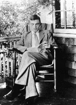 Alan Turing, father of modern computer science. Just hanging out, reading a book. Thinking smart stuff.