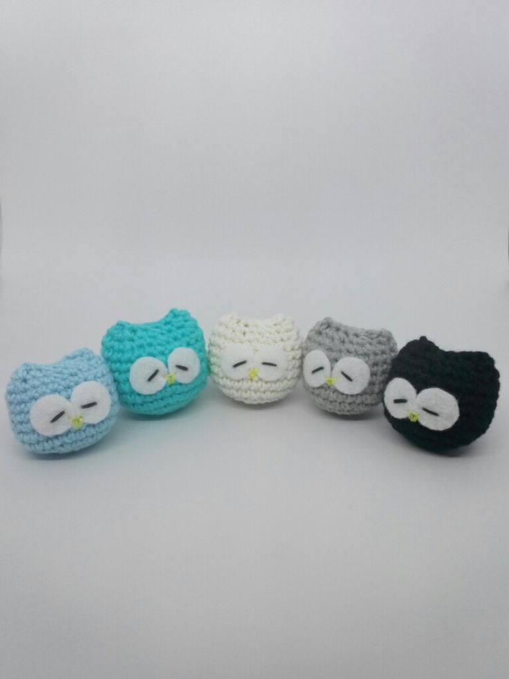 Session 3   The Sleeping Owl ❤ Key Chain • Soft Blue • Tosca • White • Grey • Black • Crocheting Project with Flanel